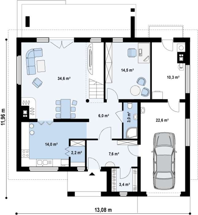 Plan parter casa cu etaj