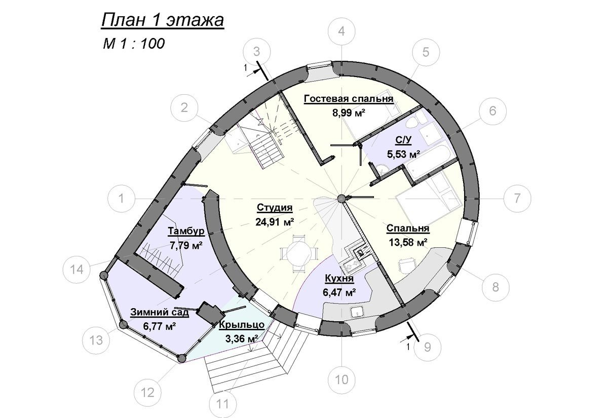 Plan parter casa rotunda
