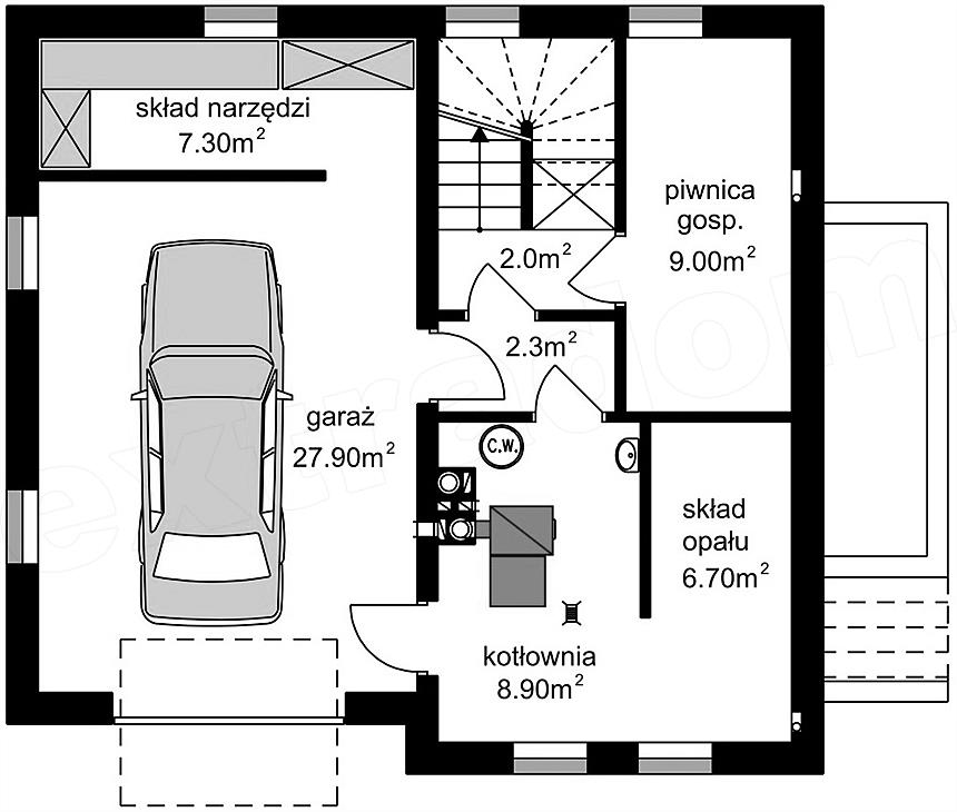 Plan subsol casa cu 3 niveluri