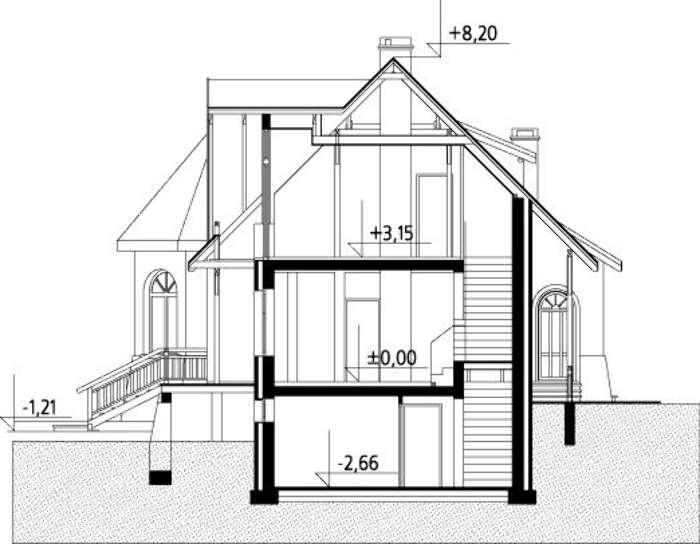Plan vertical casa cu 2 dormitoare