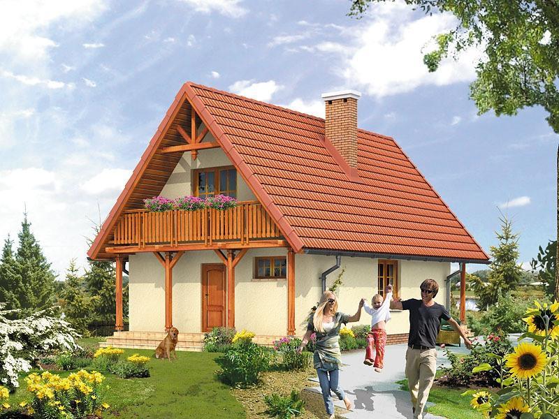 Casa cu 2 balcoane mari la mansarda