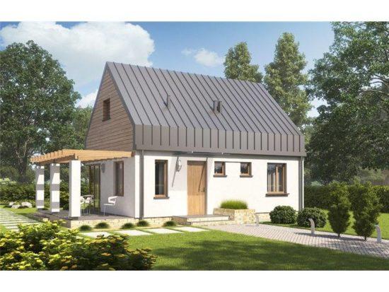 Casa cu terasa si acoperis inalt
