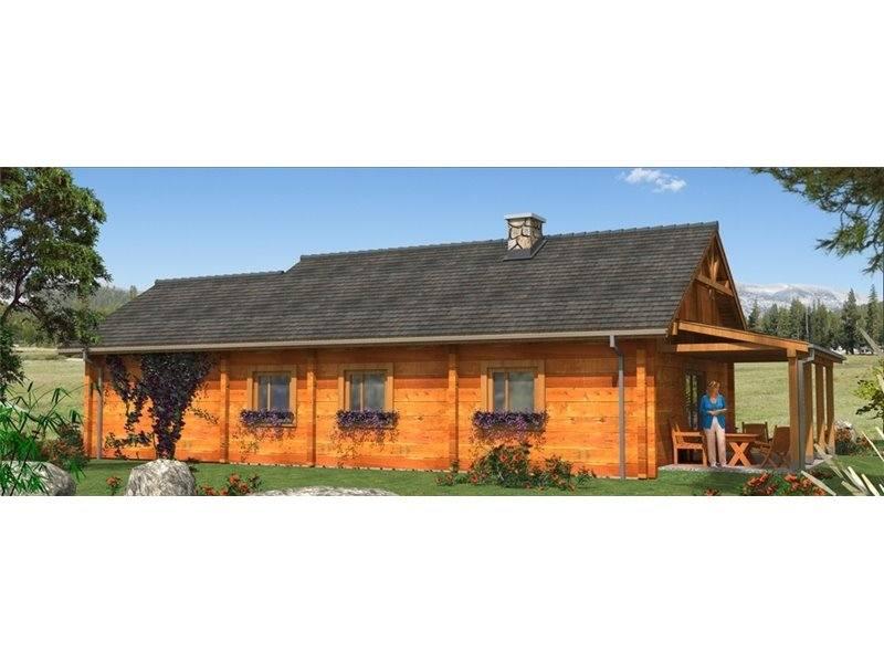 Casa din lemn cu 4 camere