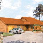 Casa din lemn cu garaj