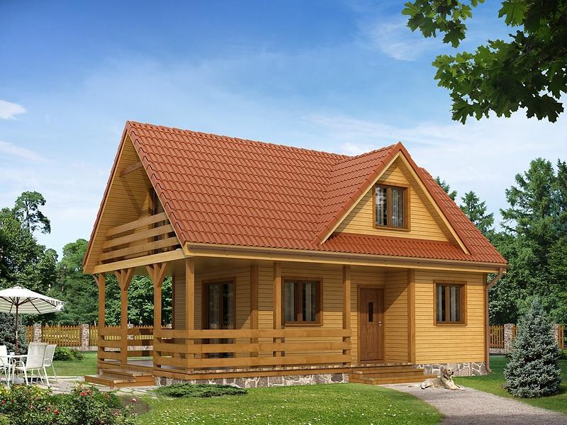 Casa din lemn cu mansarda