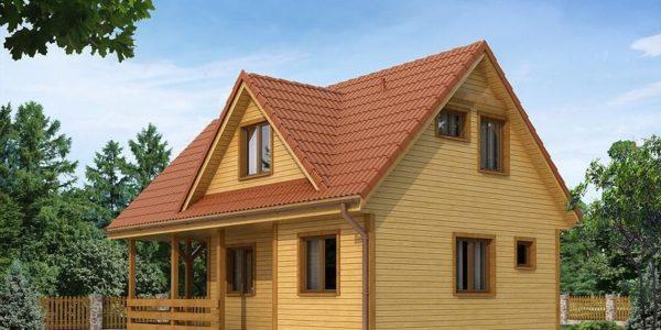 Casa din lemn cu terasa acoperita