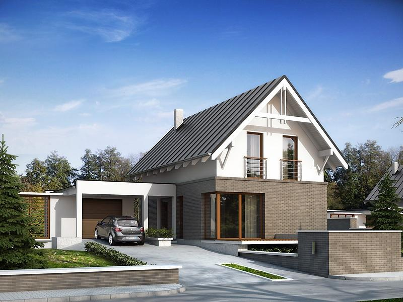 Casa moderna cu mansarda si garaj