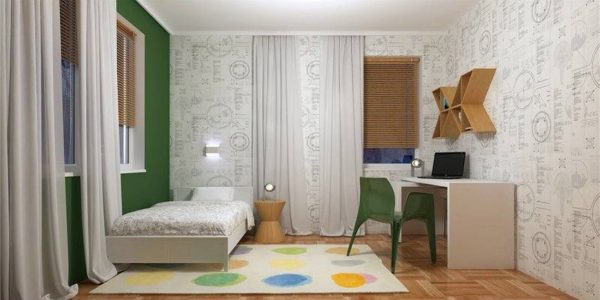 Dormitor cu decor verde-gri
