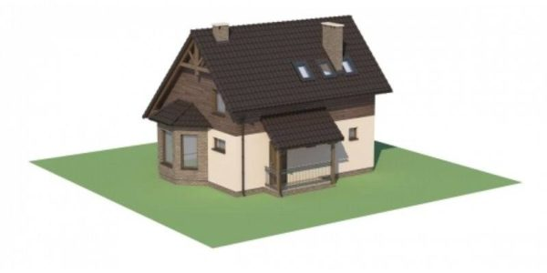 Plan 3D casa cu 4 camere