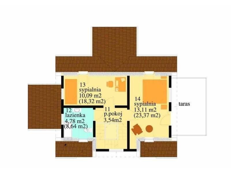Plan mansarda casa P+M cu terasa acoperita