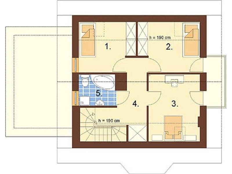 Plan mansarda casa cu 3 dormitoare si 3 bai