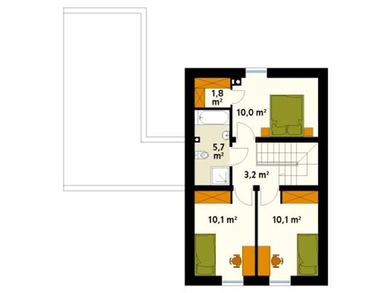 Plan mansarda casa cu 4 camere si garaj