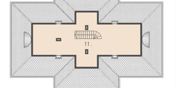 Plan mansarda casa cu 4 camere si veranda