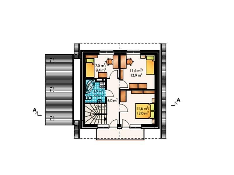 Plan mansarda casa cu P+M cu 4 camere