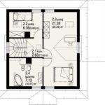 Plan mansarda casa din lemn cu 3 dormitoare