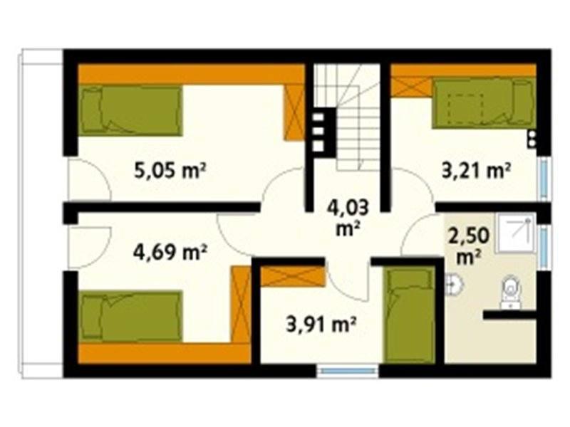 Plan mansarda casa din lemn cu 5 camere