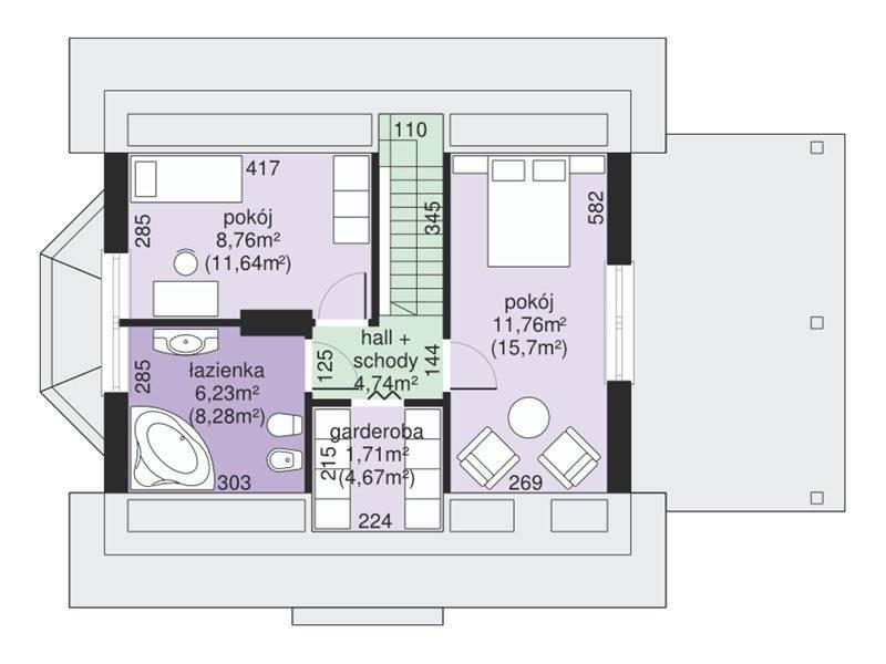 Plan mansarda casa eleganta cu 3 dormitoare