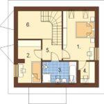 Plan mansarda casa mica cu 4 camere