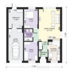 Plan parter casa cu 3 camere si garaj