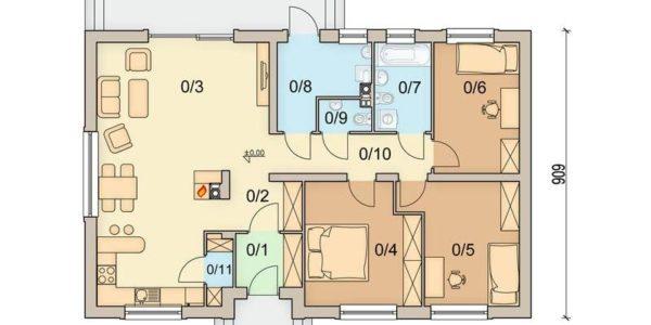 Plan parter casa cu 3 dormitoare