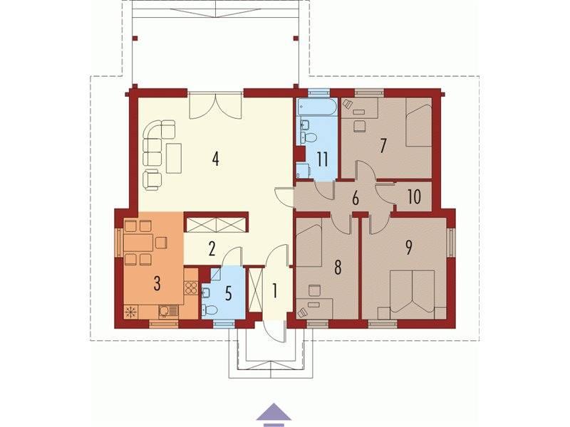 Plan parter casa cu 3 dormitoare si 2 bai