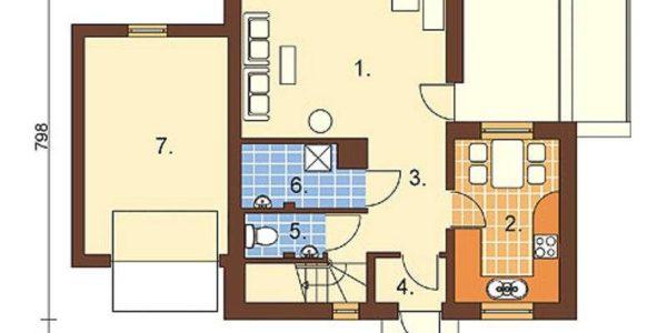 Plan parter casa cu 3 dormitoare si 3 bai