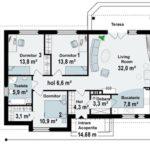 Plan parter casa cu 4 camere