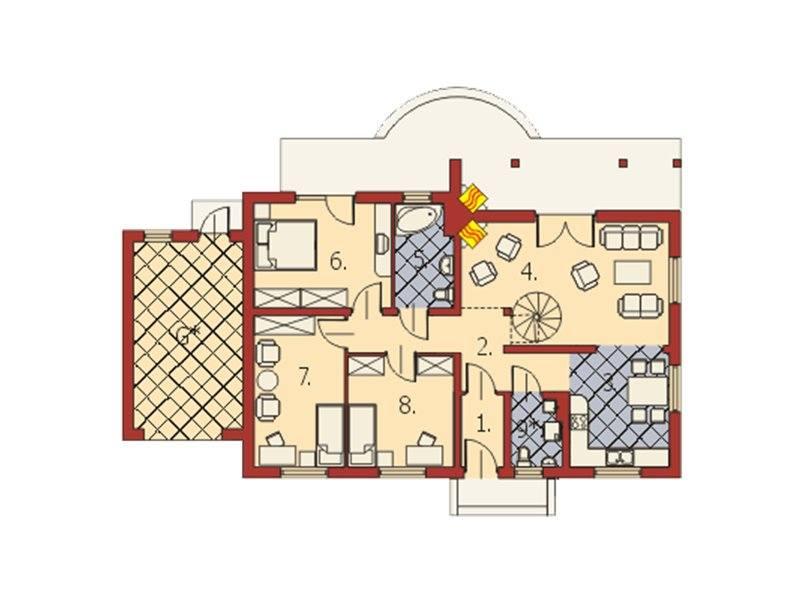 Plan parter casa cu 4 camere si 2 bai