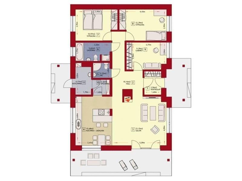 Plan parter casa cu 4 camere si dependinte