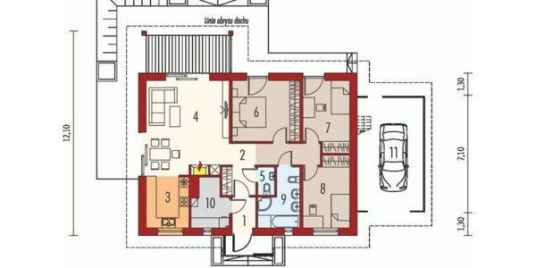 Plan parter casa cu 4 camere si garaj