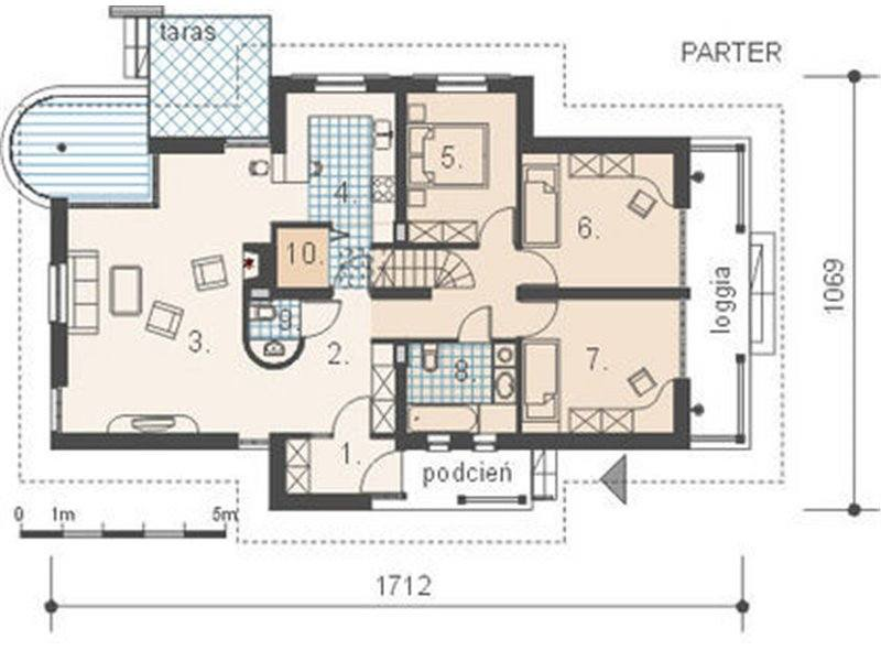 Plan parter casa cu 4 camere si veranda