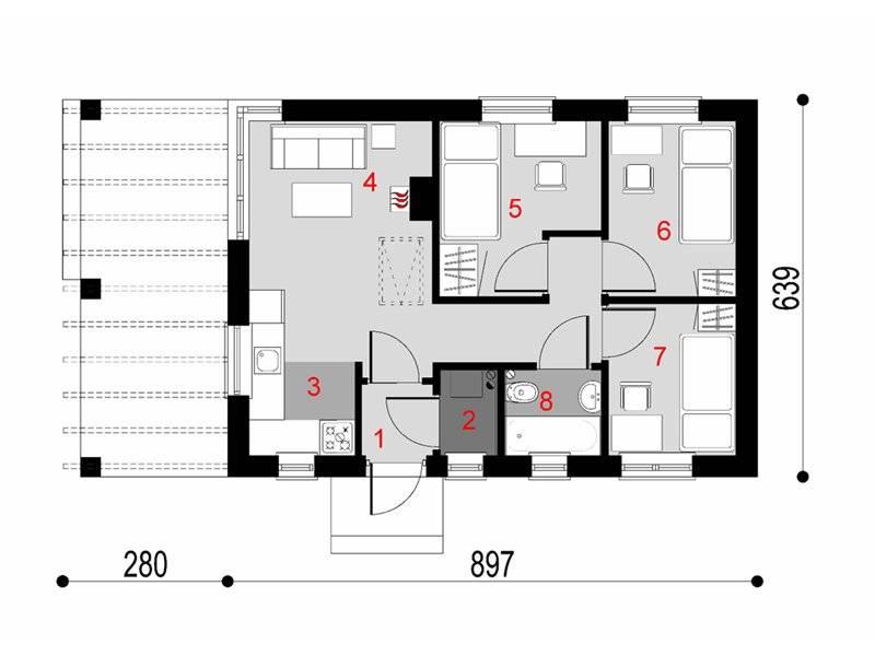 Plan parter casa cu acoperis inalt