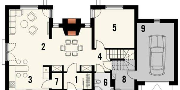 Plan parter casa cu mansarda si garaj