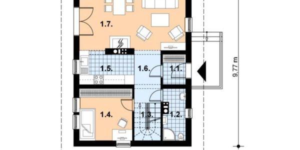 Plan parter casa de vacanta din lemn