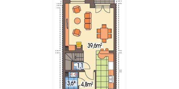 Plan parter casa din complex