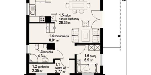 Plan parter casa din lemn cu 3 dormitoare