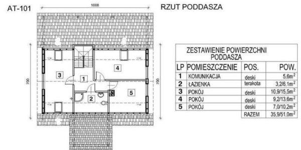 Plan parter casa din lemn cu 5 camere