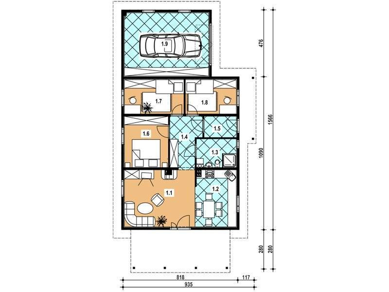 Plan parter casa din lemn