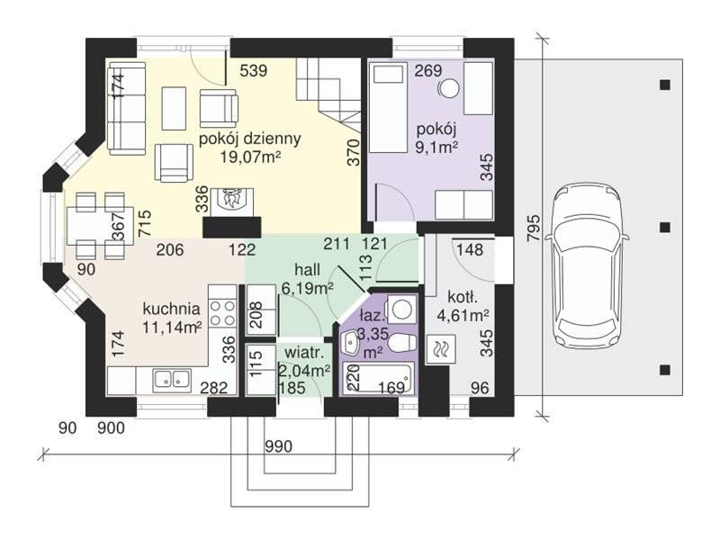 Plan parter casa eleganta cu 3 dormitoare