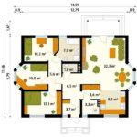 Plan parter casa familiala cu 4 camere
