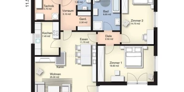 Plan parter casa mica cu 2 dormitoare
