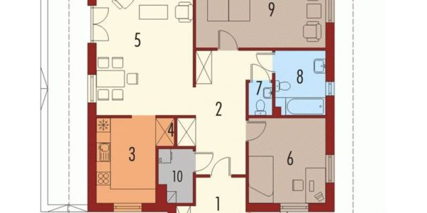 Plan parter casa mica cu 3 camere