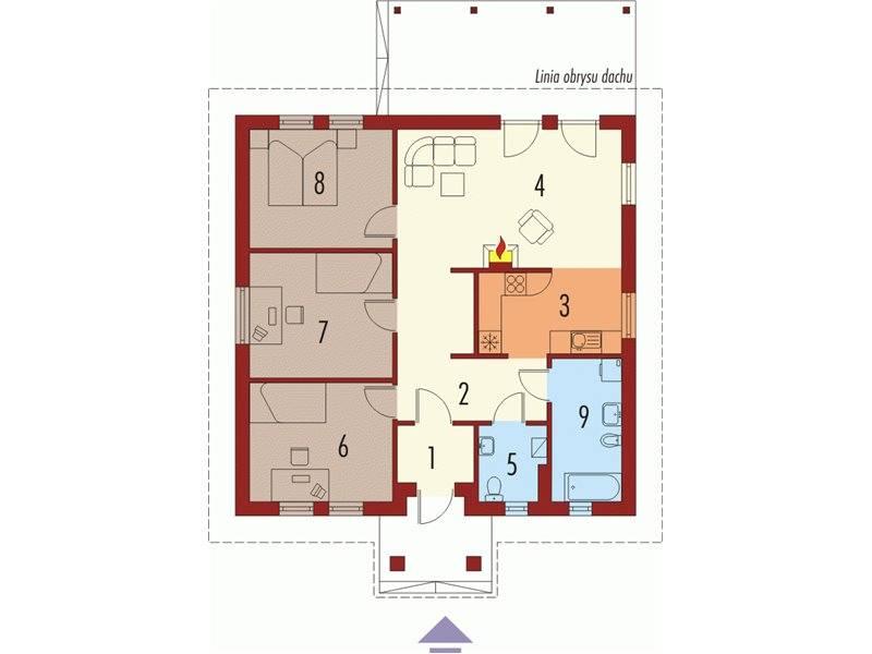 Plan parter casa mica cu 4 camere