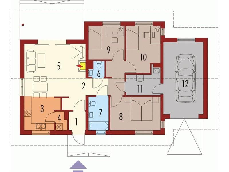 Plan parter casa mica cu 4 camere si garaj