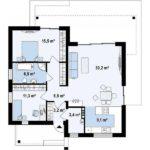 Plan parter casa moderna cu 3 camere