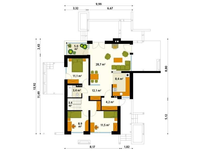 Plan parter casa moderna doar cu parter