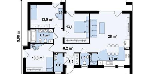 Plan parter casa moderna mica