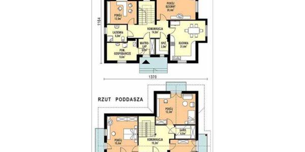 Plan parter si mansarda casa cu 5 camere