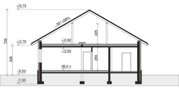 Plan vertical casa cu 3 camere si garaj