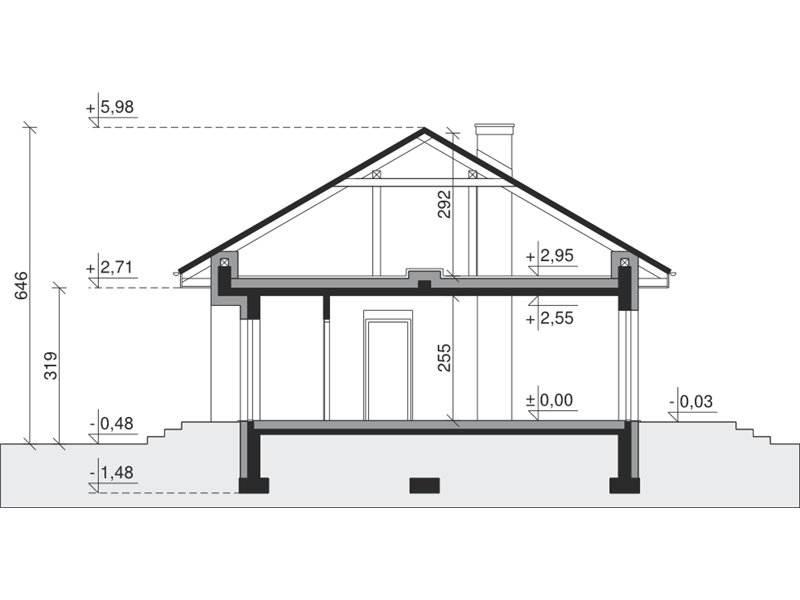 Plan vertical casa cu 4 dormitoare la parter